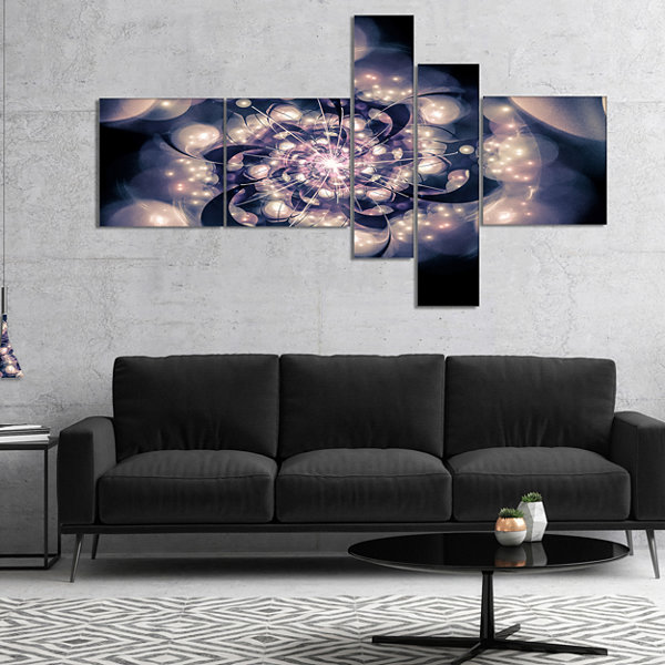 Designart Black White Fractal Flower In Dark Multipanel Floral Canvas Art Print - 5 Panels