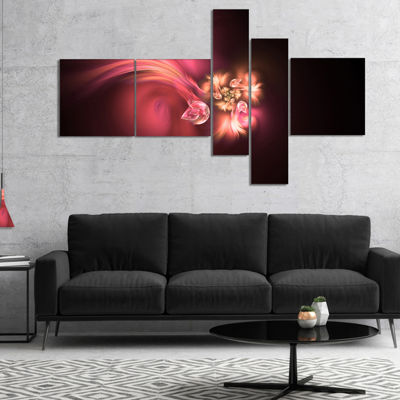 Designart Blooming Fractal Flower Magenta Multipanel Floral Art Canvas Print - 5 Panels