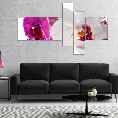Designart Blooming Orchid Flowers Multipanel Abstract Print On Canvas - 5 Panels