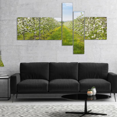 Designart Bloomy Peach Forest Photography Multipanel Floral Canvas Art Print - 5 Panels
