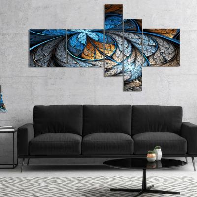 Designart Blue Brown Fractal Flower Pattern Multipanel Floral Art Canvas Print - 4 Panels
