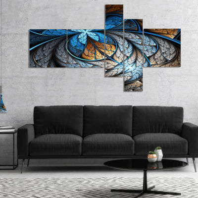 Designart Blue Brown Fractal Flower Pattern Multipanel Floral Art Canvas Print - 5 Panels
