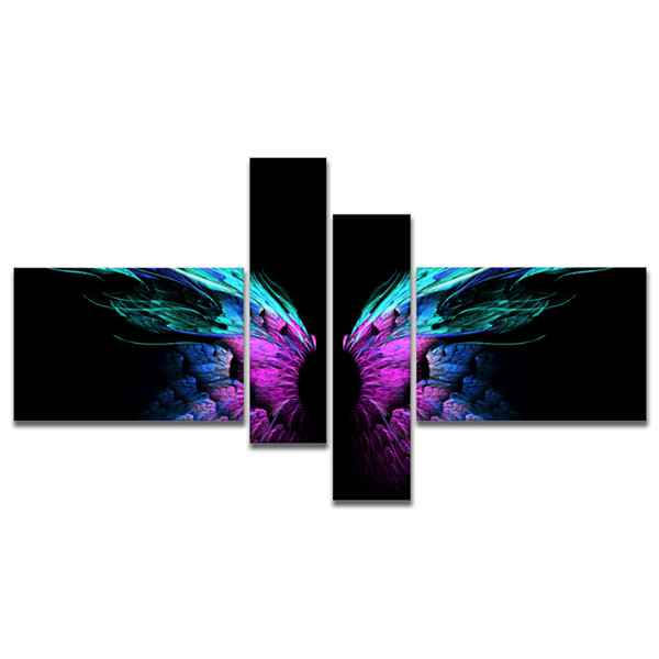 Designart Blue Butterfly Wings Multipanel FloralArt Canvas Print - 4 Panels