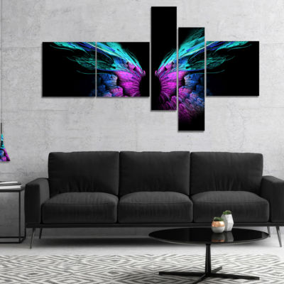 Designart Blue Butterfly Wings Multipanel FloralArt Canvas Print - 5 Panels