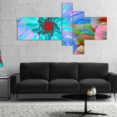 Designart Blue Colored Stain Glass With Spirals Multipanel Floral Canvas Art Print - 4 Panels