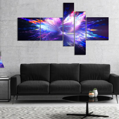 Designart Blue Explosion Of Paint Drops Multiplanel Floral Canvas Art Print - 5 Panels