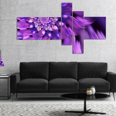 Designart Blue Flower Shaped Fractal Art Multipanel Floral Canvas Art Print - 5 Panels