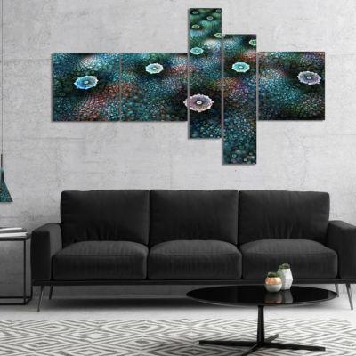Designart Blue Flowers On Alien Planet MultiplanelFloral Canvas Art Print - 4 Panels