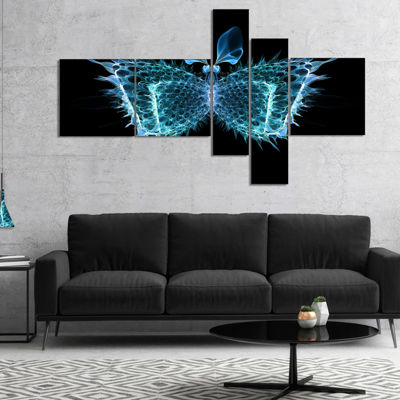 Designart Blue Fractal Butterfly In Dark Multipanel Abstract Canvas Art Print - 5 Panels