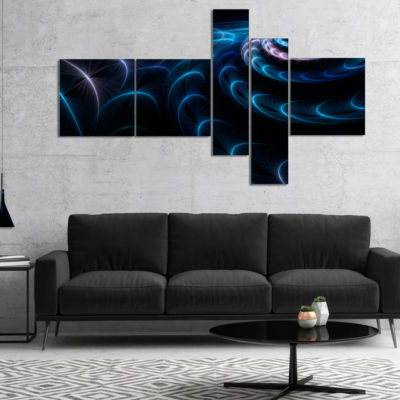 Designart Blue Fractal Flower In Dark MultipanelLarge Floral Canvas Art Print - 4 Panels