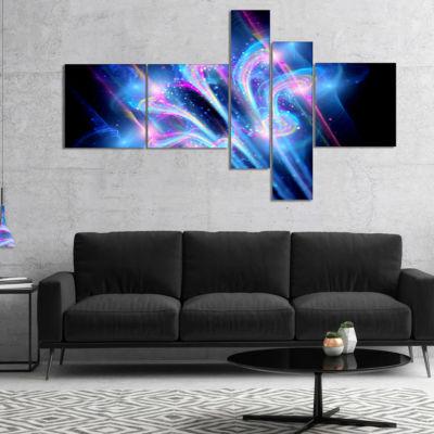 Designart Blue Fractal Flower In Space MultipanelFloral Art Canvas Print - 5 Panels