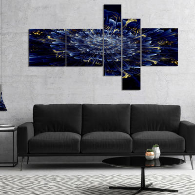 Designart Blue Fractal Flower Multipanel Floral Art Canvas Print - 4 Panels