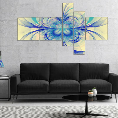 Designart Blue Fractal Flower Pattern MultiplanelFloral Art Canvas Print - 4 Panels