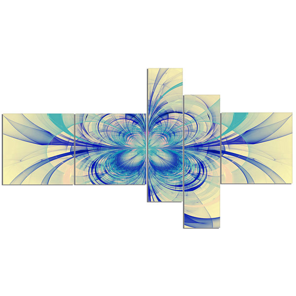 Designart Blue Fractal Flower Pattern MultiplanelFloral Art Canvas Print - 5 Panels