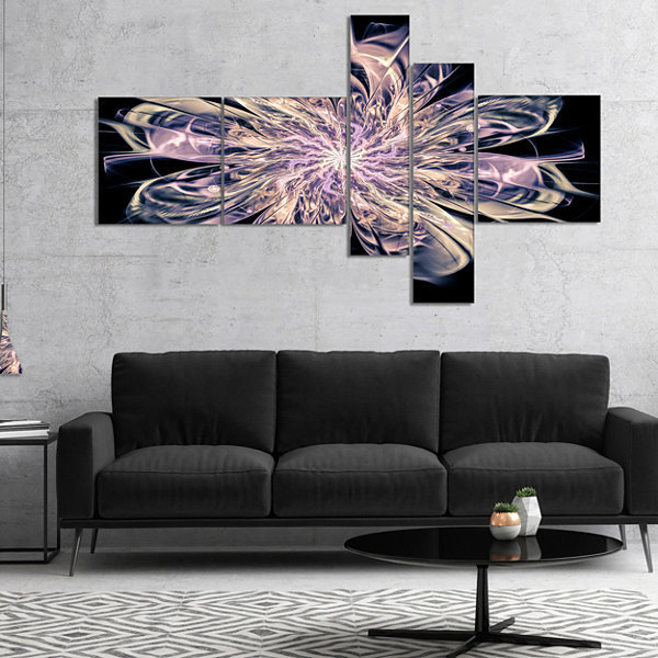 Designart Blue Fractal Flower Petals Multipanel Floral Art Canvas Print - 4 Panels