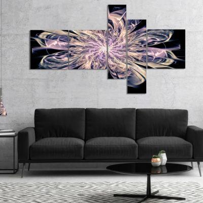 Designart Blue Fractal Flower Petals Multipanel Floral Art Canvas Print - 5 Panels