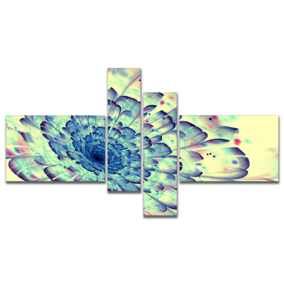 Designart Blue Fractal Flower With Red Details Multipanel Abstract Print On Canvas - 4 Panels