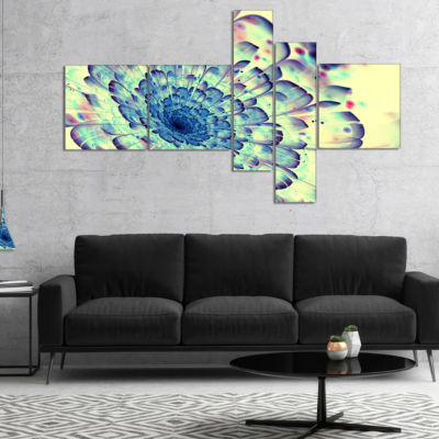 Designart Blue Fractal Flower With Red Details Multipanel Abstract Print On Canvas - 5 Panels