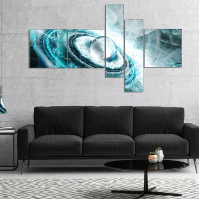Designart Blue Fractal Flying Saucer Multipanel Floral Canvas Art Print - 5 Panels