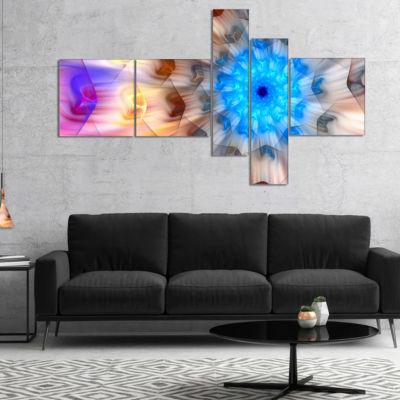 Designart Blue Fractal Petals Dandelion Multiplanel Floral Canvas Art Print - 5 Panels