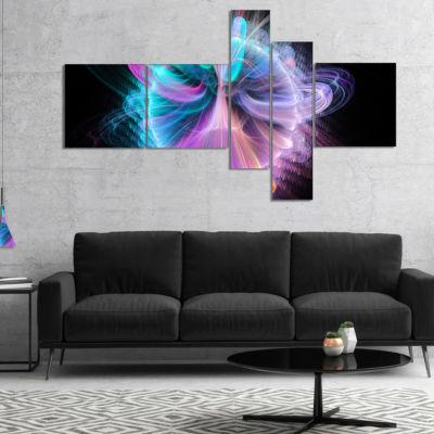 Designart Blue Fractal Vortices Of Energy Multipanel Floral Canvas Art Print - 4 Panels