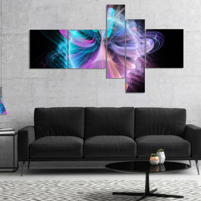 Designart Blue Fractal Vortices Of Energy Multipanel Floral Canvas Art Print - 5 Panels
