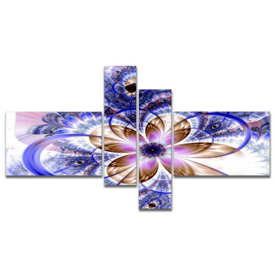 Designart Blue Light Fractal Flower Multipanel Floral Art Canvas Print - 4 Panels
