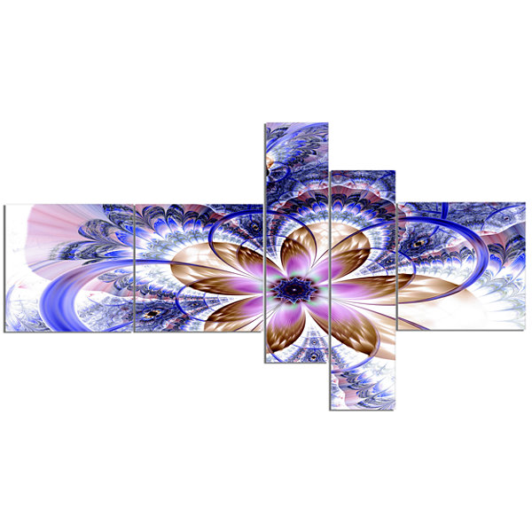 Designart Blue Light Fractal Flower Multipanel Floral Art Canvas Print - 5 Panels