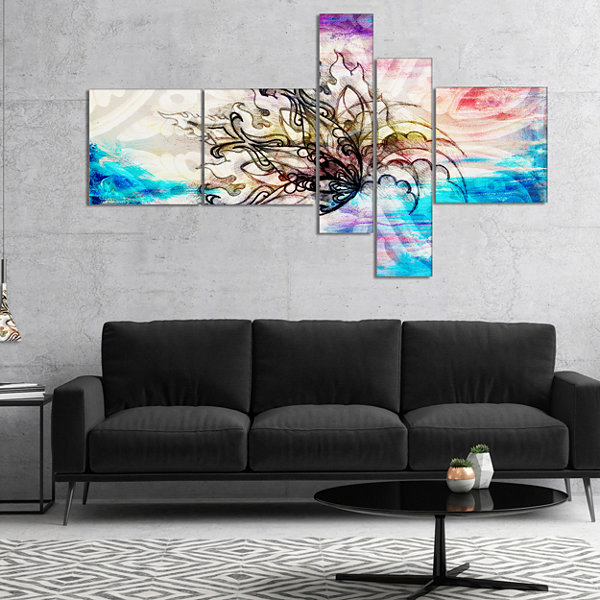 Designart Blue Paper Flower And Flame MultiplanelFloral Art Canvas Print - 5 Panels