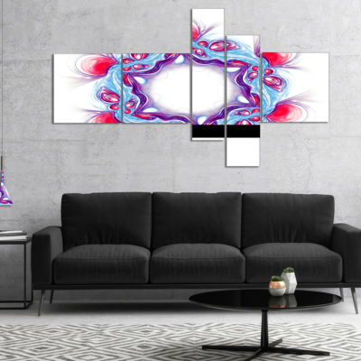 Designart Blue Red Fractal Flower On White Multipanel Floral Canvas Art Print - 5 Panels