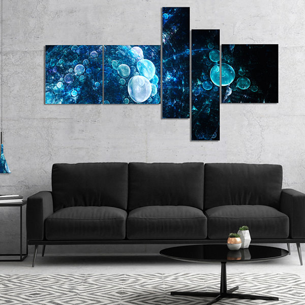 Designart Blue Spherical Water Drops Multipanel Floral Canvas Art Print - 4 Panels