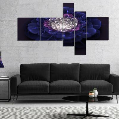 Designart Blue White Fractal Flowers Multipanel Floral Art Canvas Print - 5 Panels
