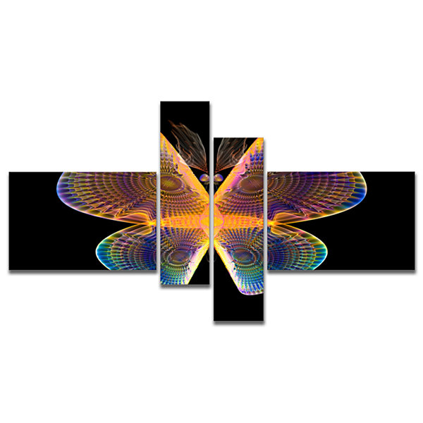 Designart Blue Yellow Fractal Butterfly In Dark Multipanel Abstract Canvas Art Print - 4 Panels