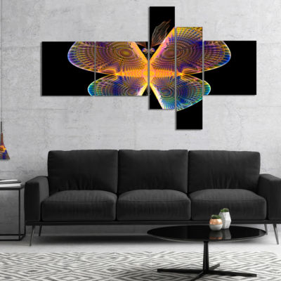 Designart Blue Yellow Fractal Butterfly In Dark Multipanel Abstract Canvas Art Print - 5 Panels