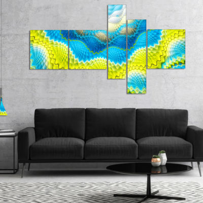 Designart Blue Yellow Spiral Snake Skin Multiplanel Floral Canvas Art Print - 5 Panels