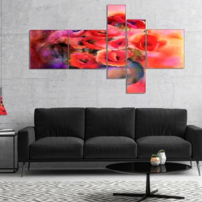 Designart Bouquet Of Cute Poppies In Vase Multipanel Large Floral Canvas Art Print - 4 Panels