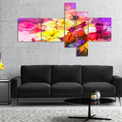 Designart Bouquet Of Daffodil And Tulip Flowers Multipanel Large Floral Canvas Art Print - 4 Panels