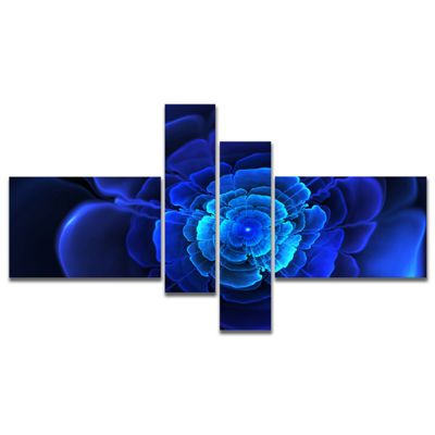 Designart Bright Blue Fractal Flower In Dark Multipanel Floral Canvas Art Print - 4 Panels