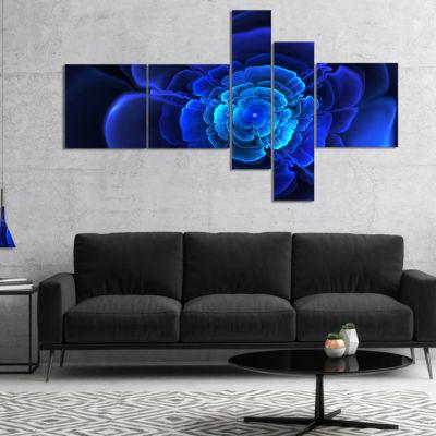 Designart Bright Blue Fractal Flower In Dark Multipanel Floral Canvas Art Print - 5 Panels