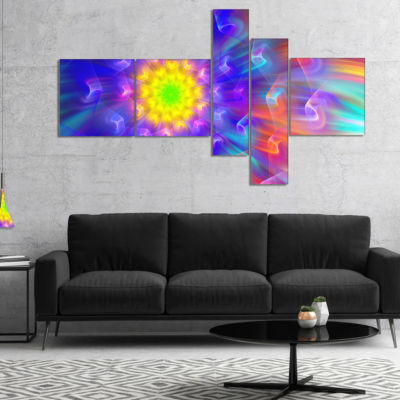 Designart Bright Blue Fractal Petals Dandelion Multipanel Floral Canvas Art Print - 5 Panels