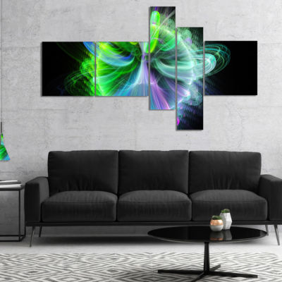 Designart Bright Blue Fractal Vortices Of Energy Multipanel Floral Canvas Art Print - 4 Panels