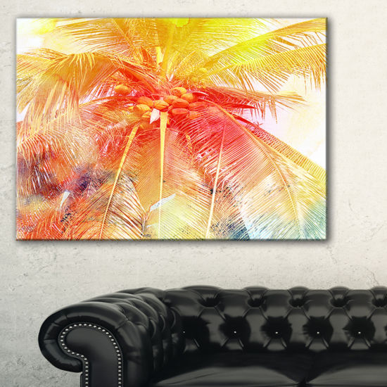 Designart Retro Palm Red Yellow Watercolor TreesPainting Canvas Art Print