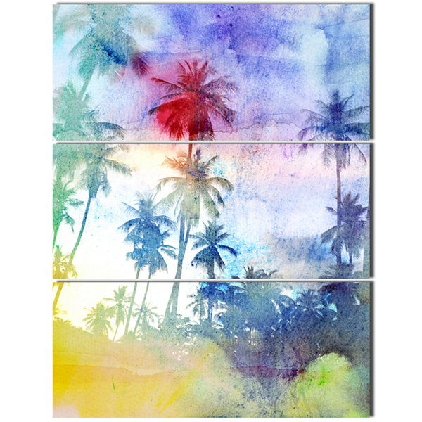 Designart Retro Palms Blue Watercolor Trees Painting Canvas Art Print - 3 Panels