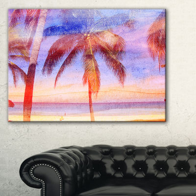 Designart Retro Palms Light Blue Watercolor TreesPainting Canvas Art Print