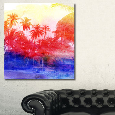 Designart Retro Palms Purple Watercolor Trees Painting Canvas Art Print