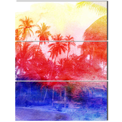 Designart Retro Palms Purple Watercolor Trees Painting Canvas Art Print - 3 Panels