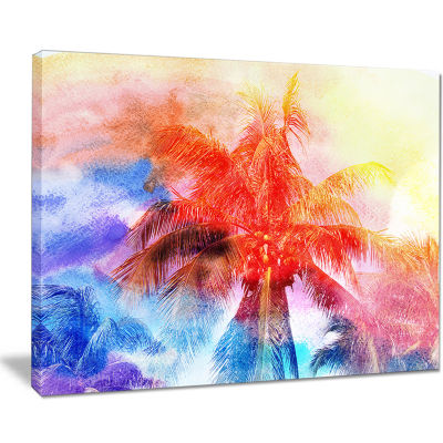 Designart Retro Palms Red Watercolor Trees Painting Canvas Art Print