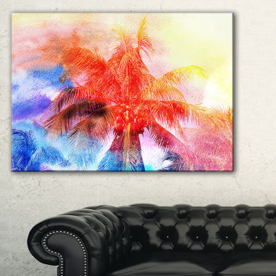 Designart Retro Palms Red Watercolor Trees Painting Canvas Art Print - 3 Panels