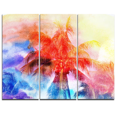 Designart Retro Palms Red Watercolor Trees Painting Canvas Art Print - 3 Panels