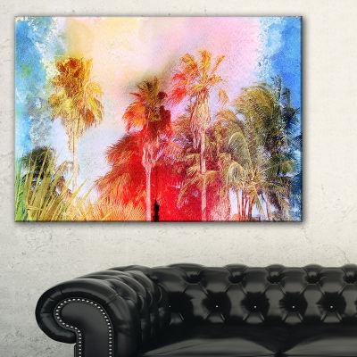 Designart Retro Palms Watercolor Trees Painting Canvas Art Print - 3 Panels